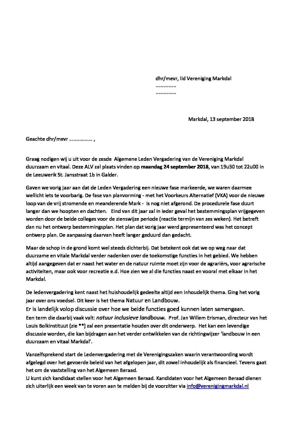 Alv Markdal Uitnodiging 2018 Vereniging Markdal
